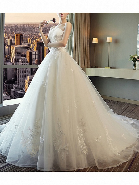 A-Line Wedding Dresses Strapless Court Train Polyester Strapless_2