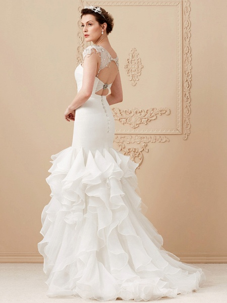 Mermaid \ Trumpet Wedding Dresses Sweetheart Neckline Sweep \ Brush Train Organza Tulle Cap Sleeve Formal Separate Bodies_15