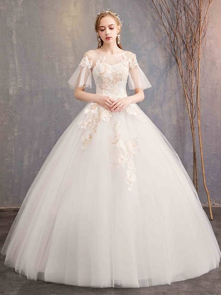 Ball Gown Wedding Dresses Bateau Neck Maxi Lace Tulle Short Sleeve Glamorous See-Through Backless_1