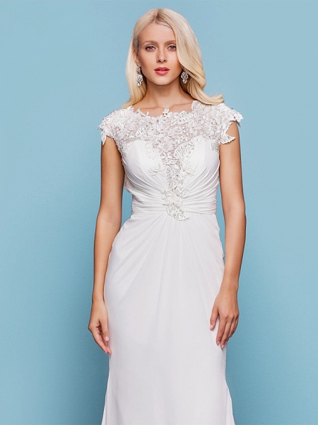 Mermaid \ Trumpet Wedding Dresses Jewel Neck Court Train Chiffon Short Sleeve Open Back_4