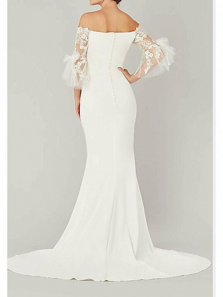 Mermaid \ Trumpet Wedding Dresses Off Shoulder Sweep \ Brush Train Lace Satin 3\4 Length Sleeve Country Plus Size_2