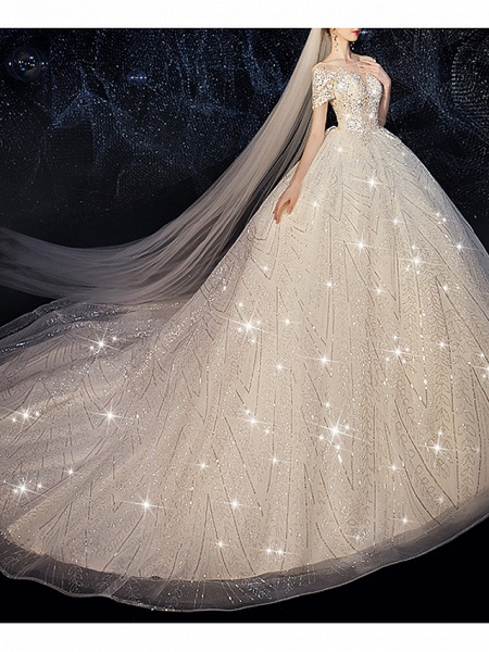 Ball Gown Jewel Neck Court Train Sequined Polyester Short Sleeve Wedding Dresses_2