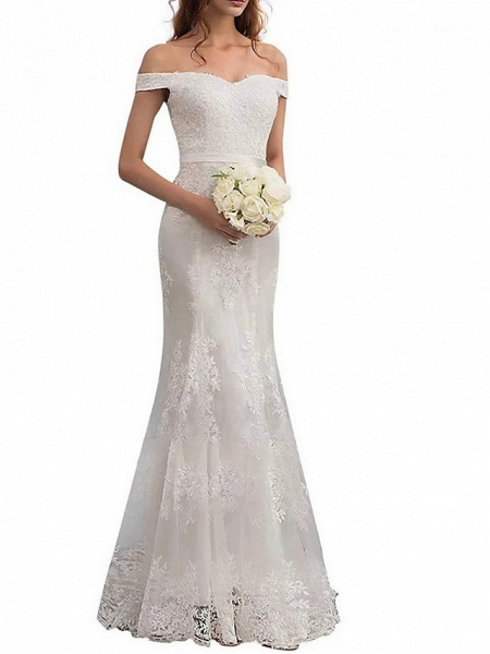 Sheath \ Column Wedding Dresses Off Shoulder Floor Length Lace Regular Straps Romantic Illusion Detail_3