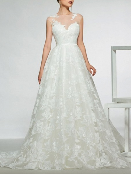 Mermaid \ Trumpet Wedding Dresses Jewel Neck Sweep \ Brush Train Lace Tulle Stretch Satin Cap Sleeve Country See-Through Backless_1