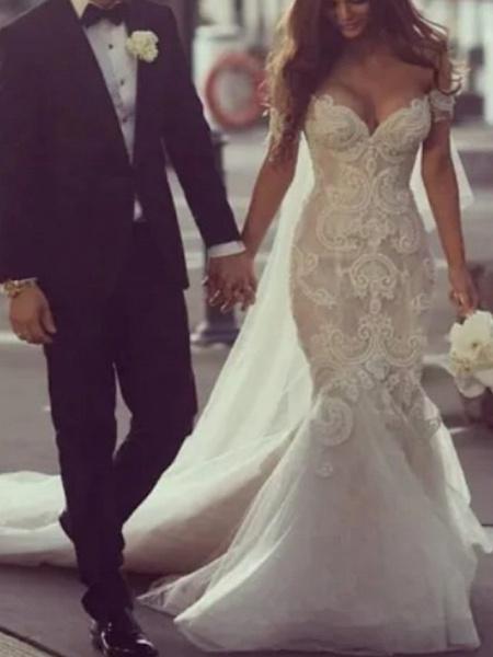 Mermaid \ Trumpet Off Shoulder Court Train Lace Tulle Regular Straps Formal Plus Size Wedding Dresses_1