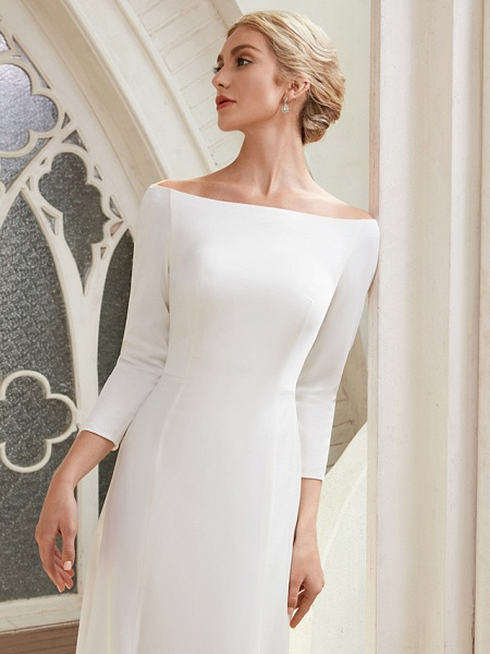A-Line Wedding Dresses Bateau Neck Chapel Train Satin 3\4 Length Sleeve Elegant_8
