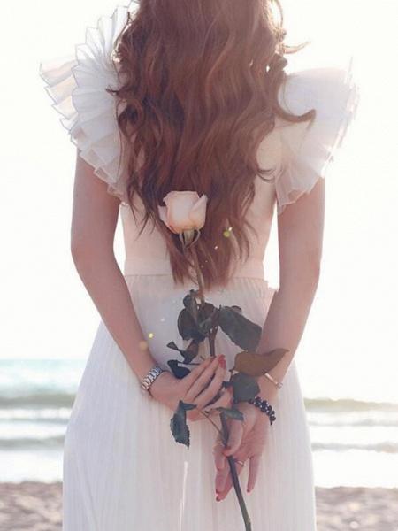 A-Line Wedding Dresses Plunging Neck Sweep \ Brush Train Chiffon Chiffon Over Satin Short Sleeve Country Beach Plus Size_2
