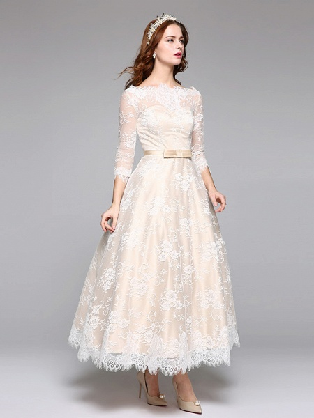 A-Line Wedding Dresses Bateau Neck Ankle Length Lace Over Satin 3\4 Length Sleeve Casual Boho See-Through Cute Illusion Sleeve_4