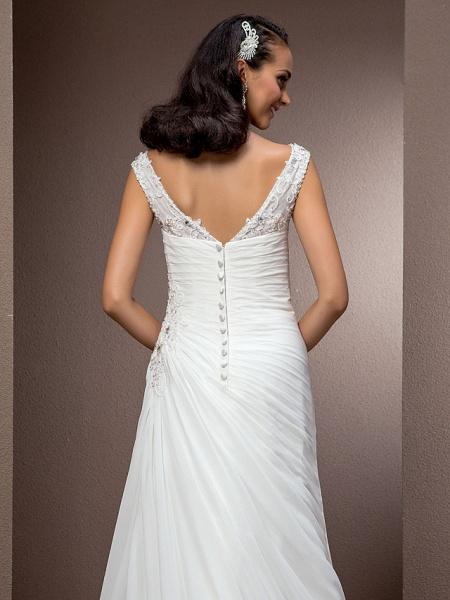 Sheath \ Column Wedding Dresses Bateau Neck Court Train Chiffon Cap Sleeve_6