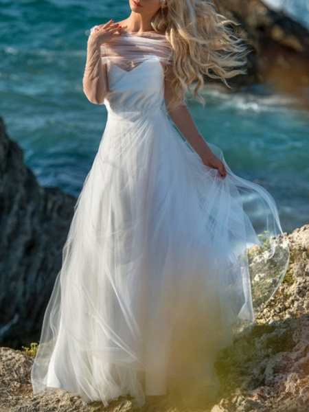 A-Line Wedding Dresses V Neck Spaghetti Strap Floor Length Chiffon Tulle Sleeveless Beach Sexy Wedding Dress in Color_2