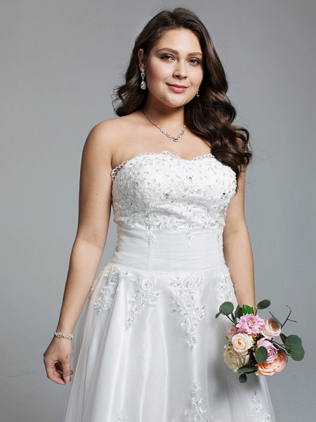 A-Line Wedding Dresses Strapless Asymmetrical Lace Tulle Strapless Little White Dress Open Back_4