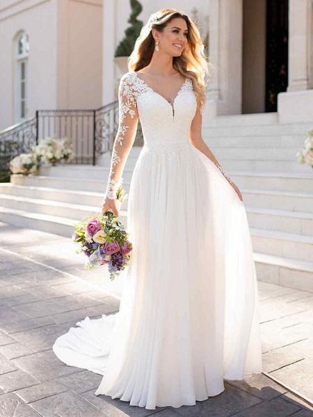A-Line Wedding Dresses V Neck Chapel Train Chiffon Satin Long Sleeve Romantic Illusion Sleeve_1