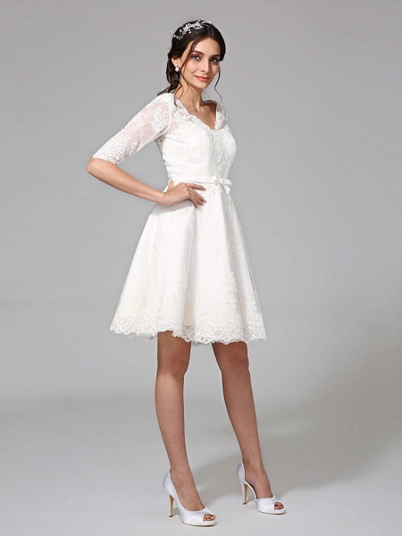 A-Line Wedding Dresses V Neck Knee Length All Over Lace 3\4 Length Sleeve Formal Casual Vintage Cute Illusion Sleeve_5