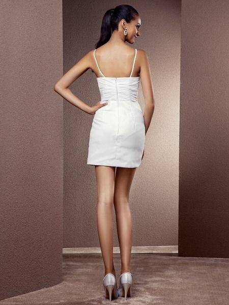 Sheath \ Column Wedding Dresses V Neck Asymmetrical Chiffon Sleeveless_10