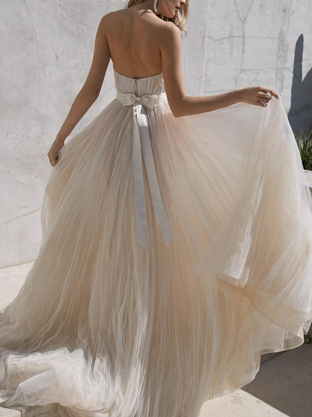 A-Line Wedding Dresses Sweetheart Neckline Sweep \ Brush Train Tulle Strapless Plus Size_2