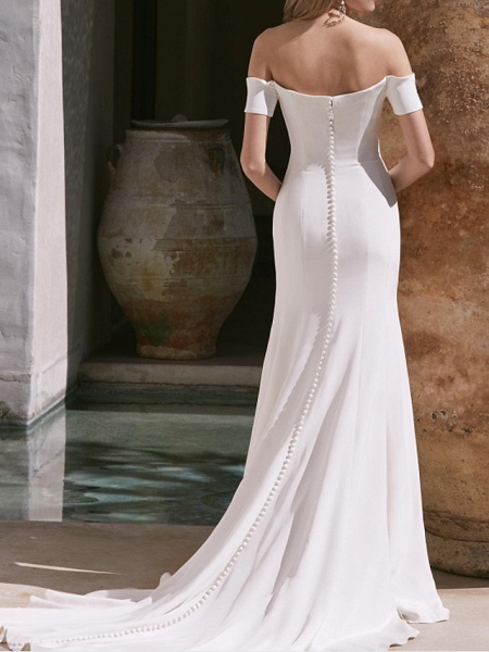 A-Line Wedding Dresses Off Shoulder Court Train Satin Sleeveless Country Plus Size_2