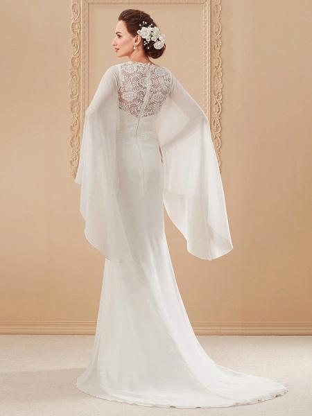Sheath \ Column Wedding Dresses Jewel Neck Sweep \ Brush Train Lace Georgette Long Sleeve Beach Illusion Detail Backless_10