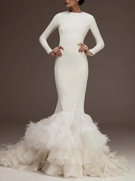 Mermaid \ Trumpet Jewel Neck Sweep \ Brush Train Satin Long Sleeve Plus Size Wedding Dresses_1