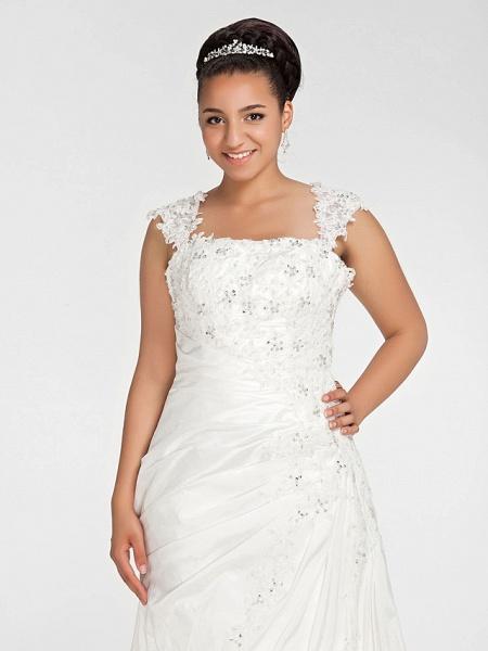 Mermaid \ Trumpet Wedding Dresses Square Neck Court Train Chiffon Regular Straps Vintage Sparkle & Shine Plus Size_5