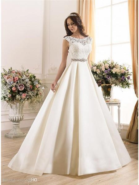A-Line Wedding Dresses Bateau Neck Court Train Lace Chiffon Over Satin Regular Straps Vintage Backless_4
