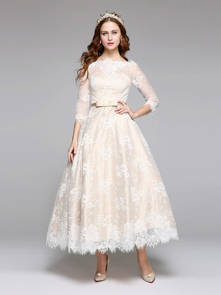 A-Line Wedding Dresses Bateau Neck Ankle Length Lace Over Satin 3\4 Length Sleeve Casual Boho See-Through Cute Illusion Sleeve_3