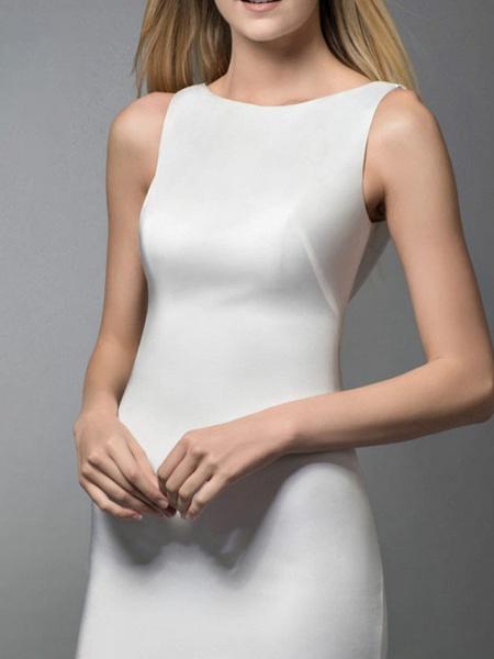 Mermaid \ Trumpet Wedding Dresses Jewel Neck Sweep \ Brush Train Spandex Lace Sleeveless Simple_2