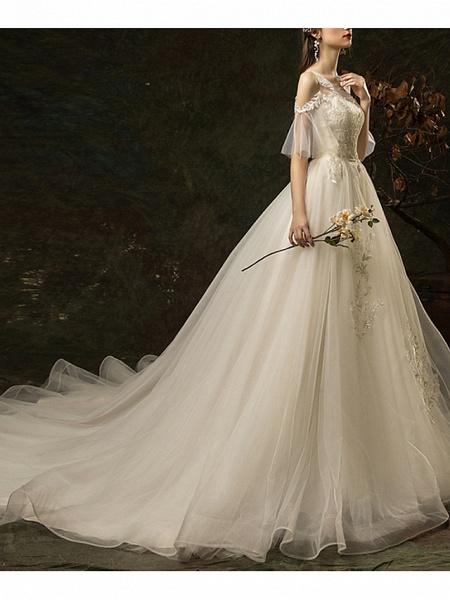 A-Line Wedding Dresses Jewel Neck Court Train Lace Half Sleeve_4