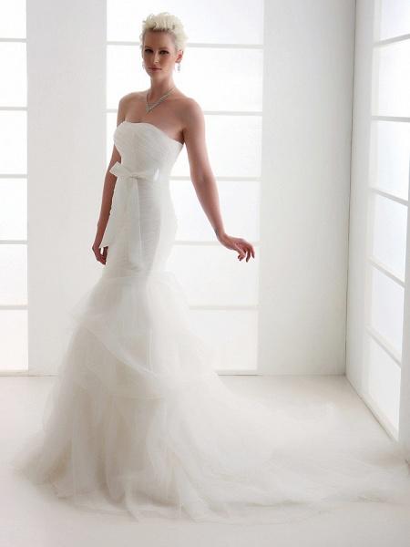 Mermaid \ Trumpet Wedding Dresses Strapless Court Train Organza Satin Sleeveless_6