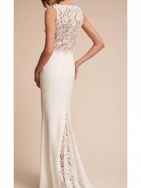 Sheath \ Column V Neck Court Train Lace Regular Straps Country Wedding Dresses_2