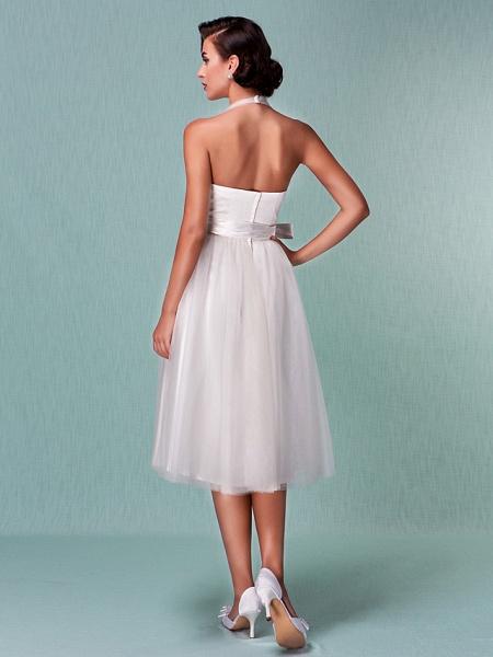 A-Line Wedding Dresses Halter Neck Knee Length Satin Tulle Regular Straps Casual Vintage Little White Dress Plus Size_6