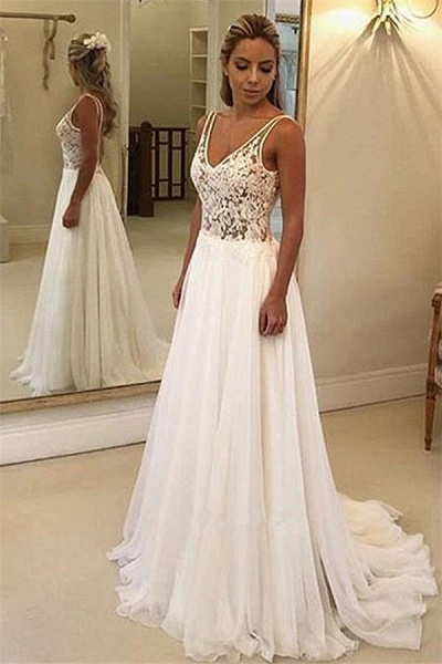Charming V-Neck Sleeveless Appliques A-Line Floor-Length Prom Dresses_1