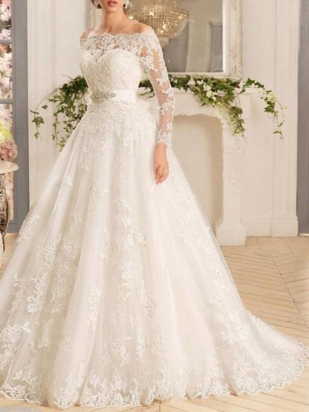 A-Line Wedding Dresses Off Shoulder Sweep \ Brush Train Tulle Regular Straps Illusion Sleeve_1