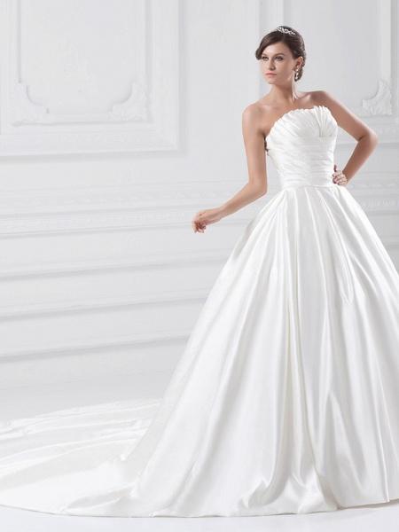 Ball Gown Wedding Dresses Strapless Court Train Satin Strapless Plus Size_3