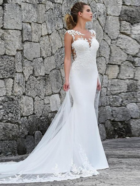 Mermaid \ Trumpet Off Shoulder Court Train Lace Satin Tulle Sleeveless Sexy See-Through Wedding Dresses_1