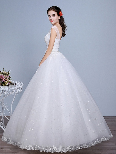 Ball Gown Wedding Dresses Sweetheart Neckline Floor Length Lace Tulle Polyester Sleeveless Romantic Glamorous Sexy_2