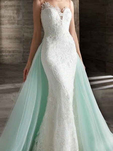 Mermaid \ Trumpet Wedding Dresses Strapless Sweep \ Brush Train Lace Strapless Country Plus Size_2