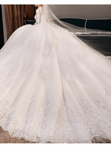 A-Line Wedding Dresses High Neck Court Train Lace 3\4 Length Sleeve Glamorous Illusion Sleeve_3