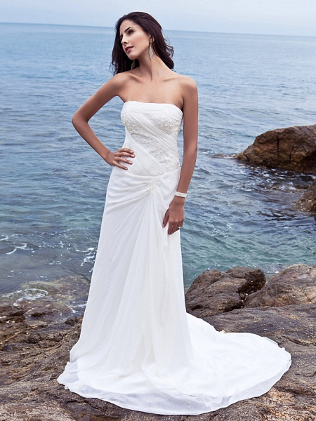 Sheath \ Column Wedding Dresses Strapless Court Train Chiffon Strapless Beach Plus Size_1