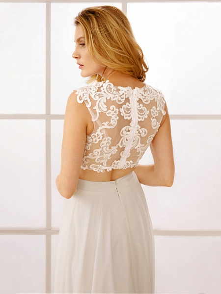 Princess Two Piece Wedding Dresses Jewel Neck Floor Length Chiffon Sleeveless See-Through Beautiful Back Crop Top_7