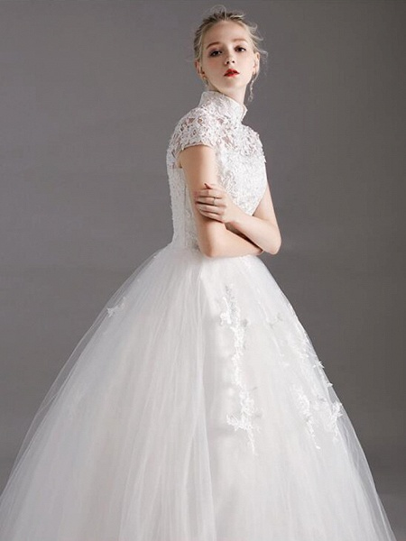 Ball Gown Wedding Dresses High Neck Floor Length Lace Tulle Polyester Short Sleeve Glamorous See-Through Illusion Detail_3