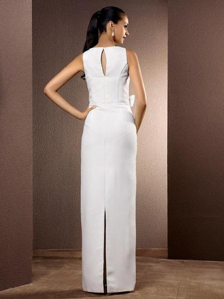 Sheath \ Column Wedding Dresses Bateau Neck Floor Length Chiffon Sleeveless_4