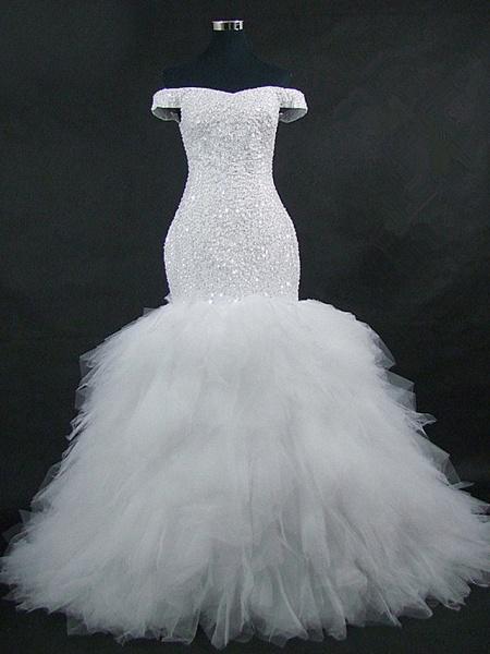Mermaid \ Trumpet Off Shoulder Court Train Tulle Sequined Strapless Glamorous Vintage Sparkle & Shine Wedding Dresses_1