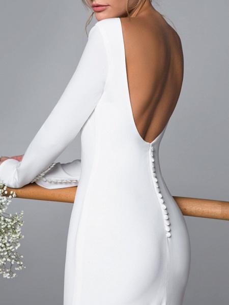 Mermaid \ Trumpet Wedding Dresses Bateau Neck Sweep \ Brush Train Satin Long Sleeve Mordern Backless_3