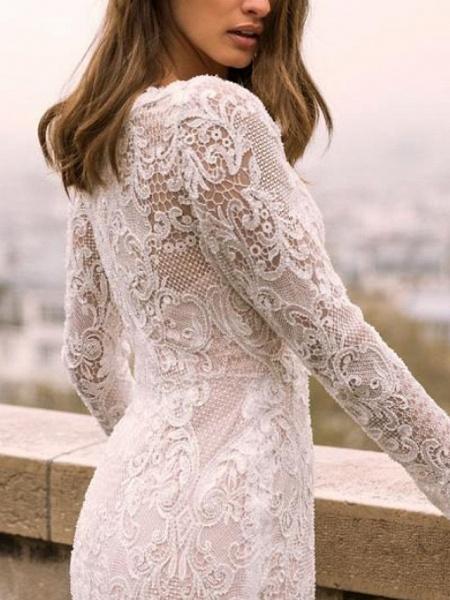 Sheath \ Column V Neck Sweep \ Brush Train Lace Tulle Long Sleeve Boho Plus Size Illusion Sleeve Wedding Dresses_2