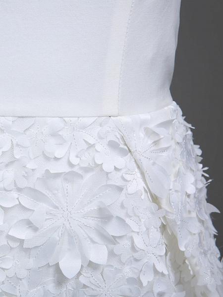 Sheath \ Column Wedding Dresses Jewel Neck Short \ Mini Chiffon Regular Straps Romantic Casual See-Through Plus Size Backless_11