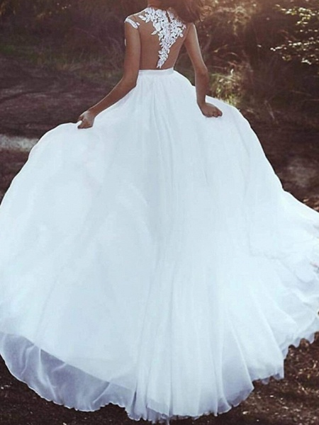 A-Line Wedding Dresses V Neck Court Train Chiffon Lace Sleeveless Country Beach Sexy_2