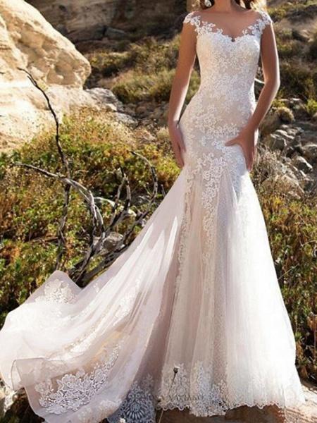 Mermaid \ Trumpet Wedding Dresses Jewel Neck Chapel Train Lace Tulle Sleeveless Glamorous_1