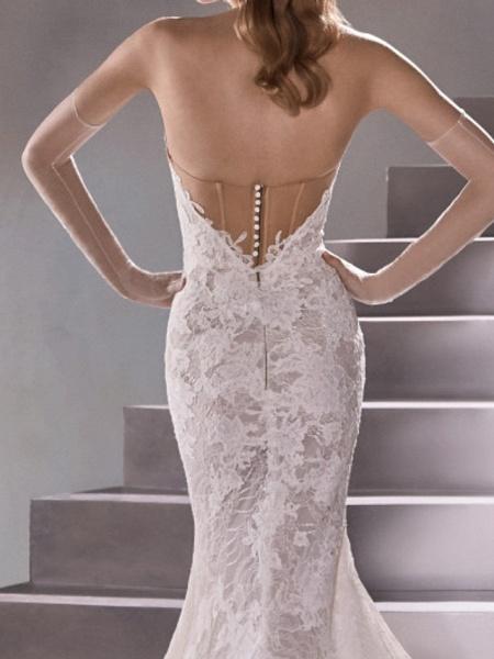 Mermaid \ Trumpet Wedding Dresses Sweetheart Neckline Sweep \ Brush Train Lace Sleeveless Sexy Plus Size_5