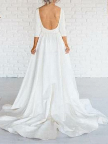 A-Line Wedding Dresses Bateau Neck Sweep \ Brush Train Satin 3\4 Length Sleeve Simple Backless_2