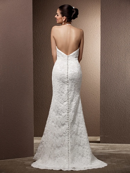 Mermaid \ Trumpet Wedding Dresses Halter Neck Sweep \ Brush Train Lace Regular Straps Open Back_5